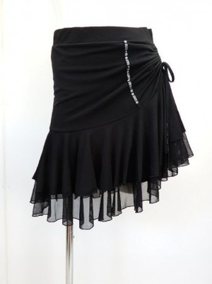 【sk652】社交ダンスラテンスカート 段々フリル サイド絞りあり ブラック