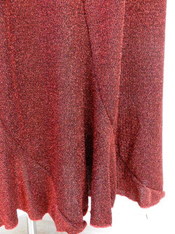 《高品質》【su345】社交ダンス上下スーツ コサージュ付&ロングスカート ラメレッド
