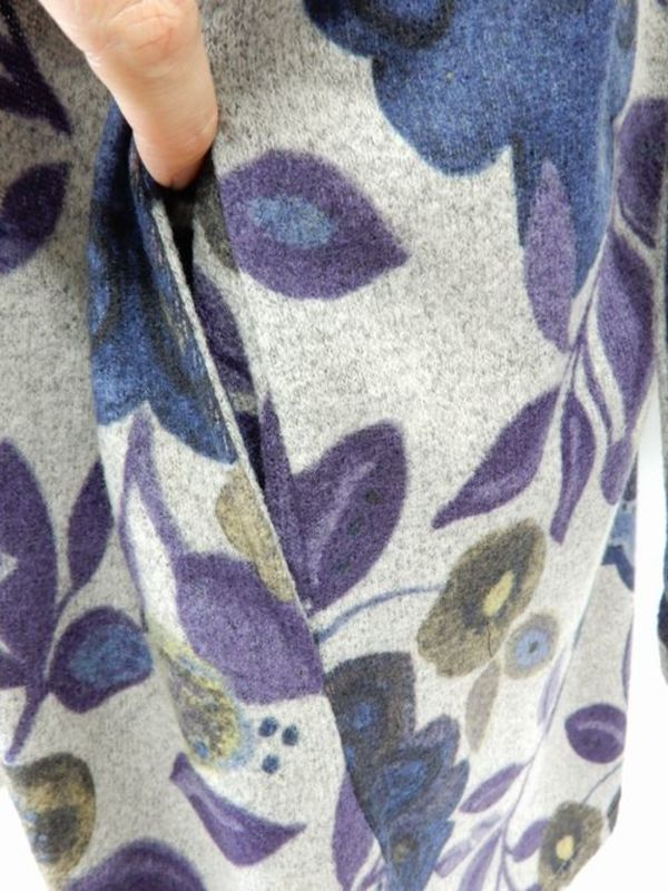 《韓国製》【f044】冬物ワンピース グレーパープル LL ゆったりサイズ