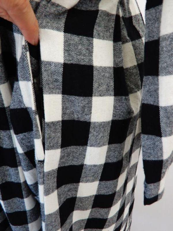 《中国製》【f045】ホームウェアワンピース 黒白チェック柄 M~Lサイズ