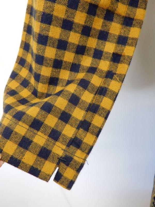 《中国製》【f046】ホームウェアワンピース 黄紺チェック柄 M~Lサイズ