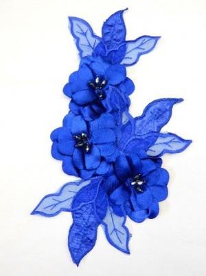 【ac155】リメイク商品  フラワーモチーフ 3D サテンビーズ ブルー