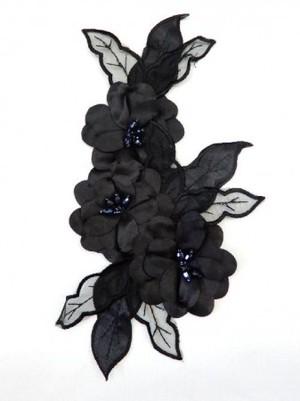 【ac156】リメイク商品  フラワーモチーフ 3D サテンビーズ ブラック