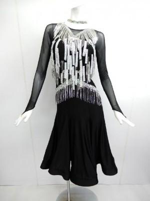 《さらに値下げ》【wp633】社交ダンスドレス 正装ラテンブラック ビーズ M 69800円を↓