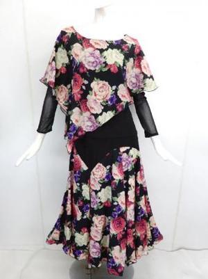 【su472】社交ダンス上下スーツ ケープ&切替スカート 大バラ柄 ピンク