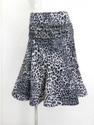 【sk653】社交ダンスミディアムスカート 裾ホーステープ 裏付き ヒョウ柄スパン グレー