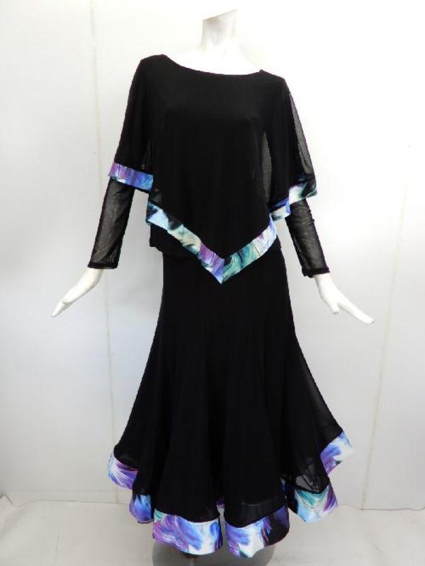【su445】社交ダンス上下スーツ ケープ&裾切替スカート デザイン柄