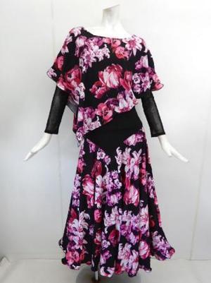 【su446】社交ダンス上下スーツ ケープ&切替スカート 花柄 ピンク