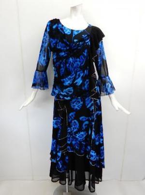 《高品質》【su447】社交ダンス上下スーツ 花柄トップス&ロングスカート ブルー