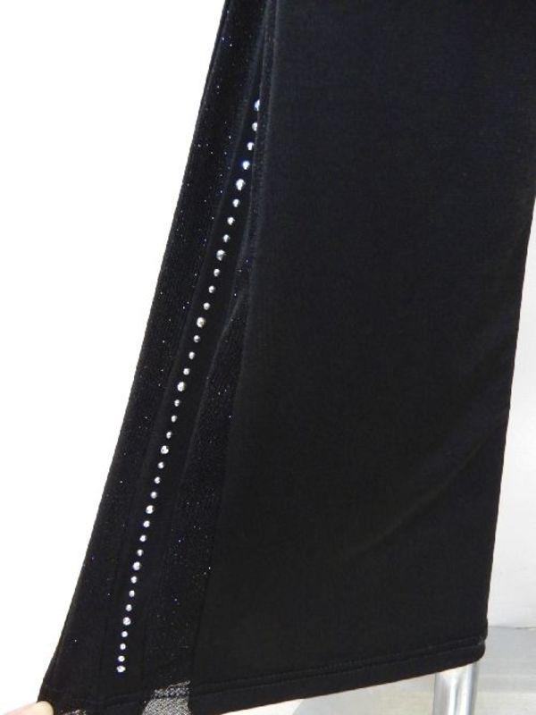 高品質【p469】ダンスパンツストレート ブーツカット 両サイドシースルー ブラック