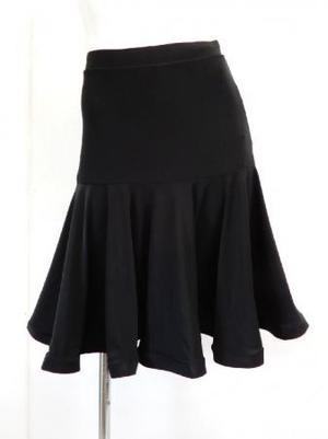 【sk737】社交ダンスミディアムスカート ヒップ切替裾ホーステープ ブラック