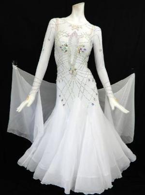 《新入荷》【Md008】社交ダンスドレス正装モダン ジョーゼットホワイト Mサイズ