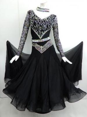 《新入荷》【Md009】社交ダンスドレス正装モダン Vネックブラック Mサイズ