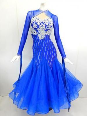《新入荷》【Md010】社交ダンスドレス正装モダン マーメイドロイブルー Mサイズ
