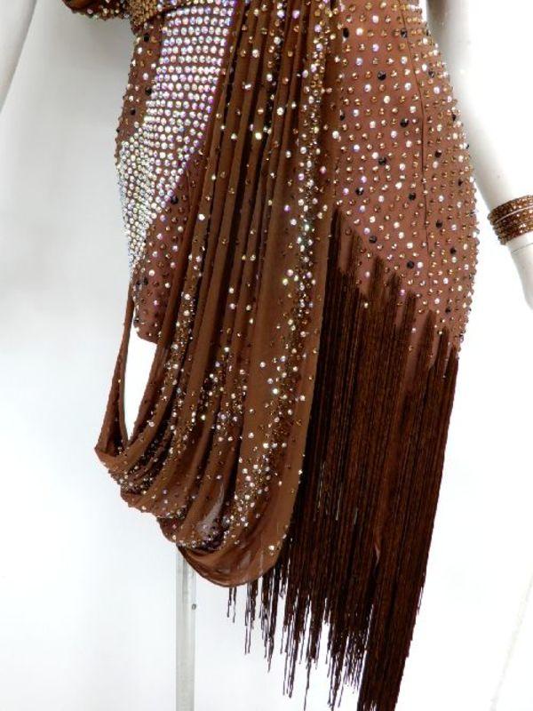 新入荷【La005】社交ダンスドレス 正装ラテン フリンジブラウン M