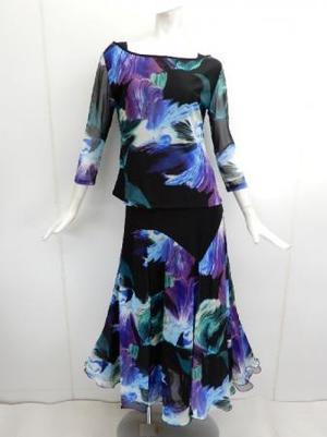Lサイズ【su448】社交ダンス上下スーツ ボートネック&ヒップ切替スカート デザイン柄
