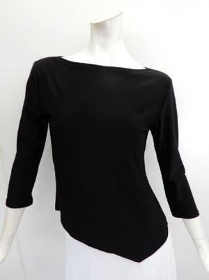 Lサイズ【c299】社交ダンス衣装 シンプルボートネック 前裾V ブラック