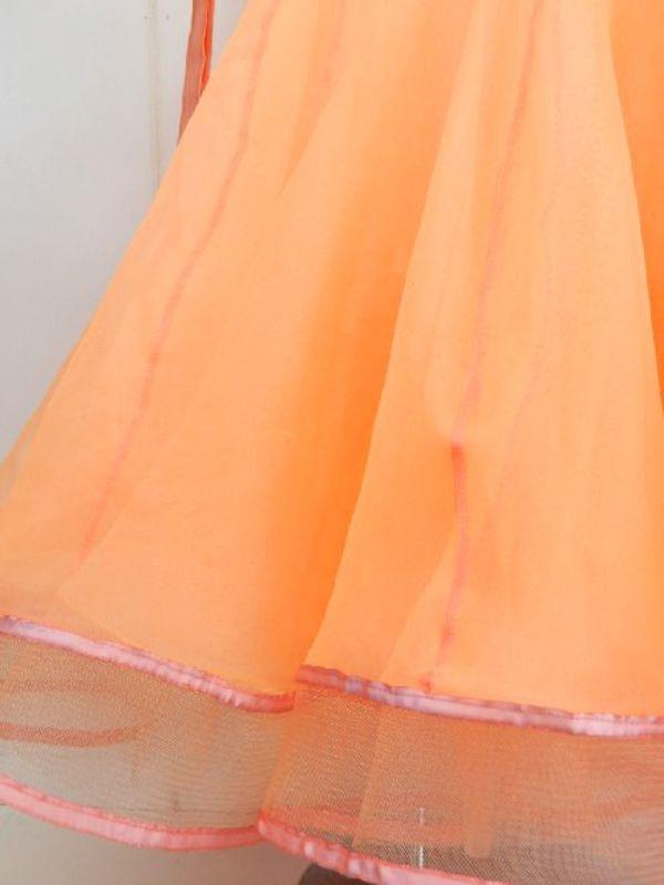 【wp700】社交ダンスドレス正装モダン サーモンピンク Mサイズ