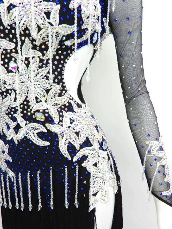 【wp596】社交ダンスドレス 正装ラテンフリンジ黒青 クリスタルビーズ M 59800円を↓