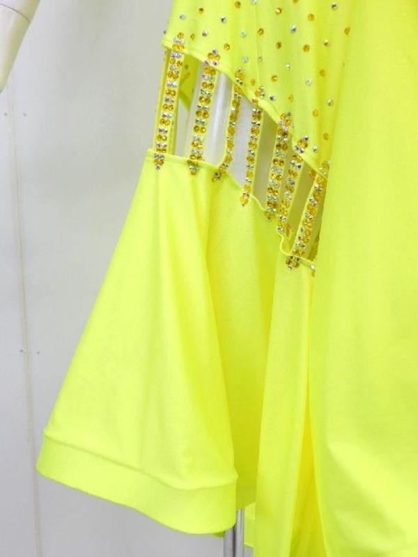 【wp702】社交ダンスドレス 正装ラテン イエローキュート M