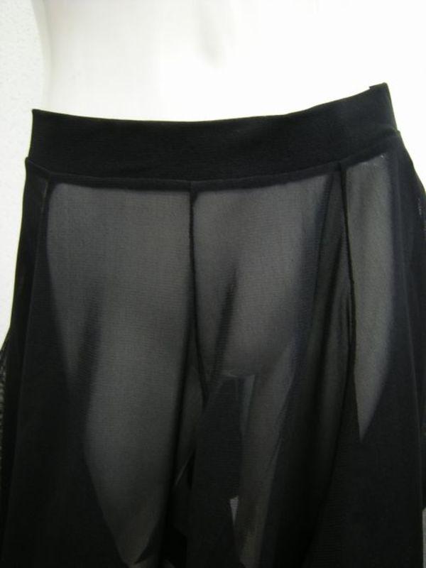 【ss849】オーバースカート ネット素材テープ付き 裾ギザギザ ブラック