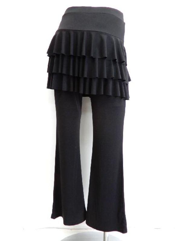 LLサイズ【p473】ダンスパンツ オーバースカート一体化 3段フリル