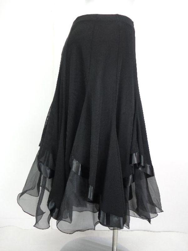 《高品質》【sk720】社交ダンスロングスカート 重ね着風 裾テープ ブラック