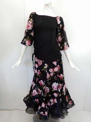 【su451】社交ダンス上下スーツ バルーン袖T&重ね着風スカート ピンク花柄