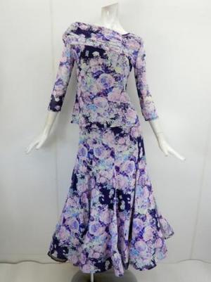 【su452】社交ダンス上下スーツ LサイズT&ロングスカート パープル花柄