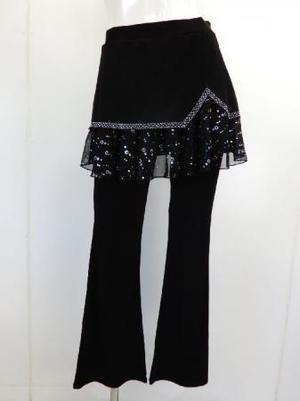 フリーサイズ【p535】ダンスパンツ オーバースカート一体化 スパンコール