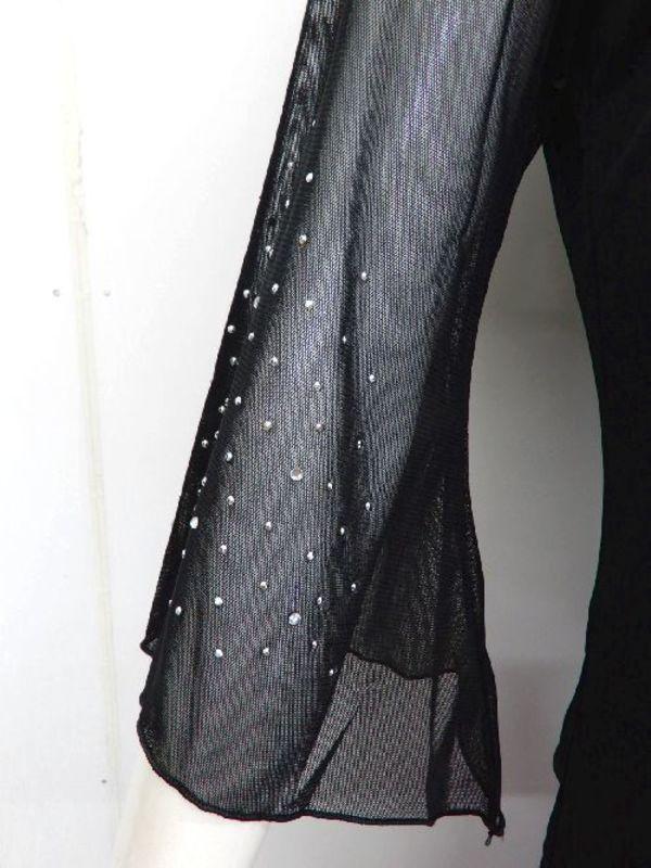 《高品質》【c131】社交ダンストップス ウエスト絞りストーン付 ゆったりめ 黒