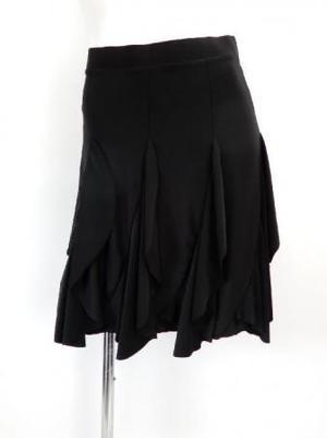 【sk739】社交ダンスラテンスカート 斜め切替フリル ブラック