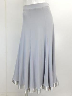 《高品質》【sk740】社交ダンスロングスカート シンプル裾テープ グレー