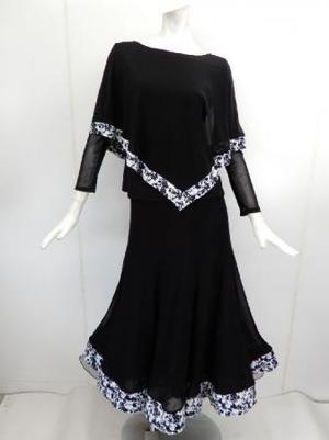 【su453】社交ダンス上下スーツ ケープ&裾切替スカート 黒白小花柄