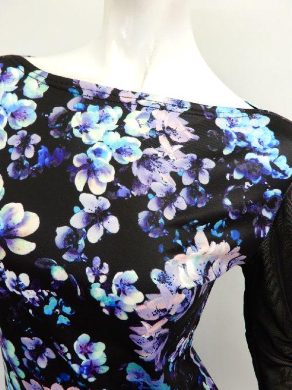 Lサイズ【c311】社交ダンス衣装 ボートネック 花柄黒パープル