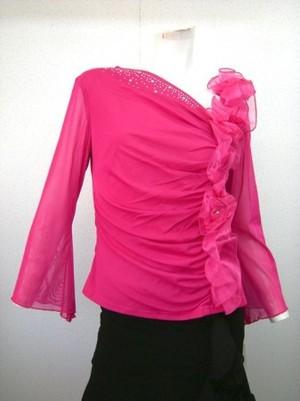 ゆったりめ【to572】お花パール 縦飾り Lサイズ ピンク