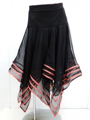 ☆高品質☆【sk547】社交ダンスラテンミディアムスカート ラメテープギザギザ レッド