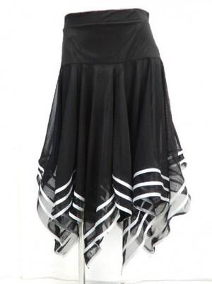 ☆高品質☆【sk548】社交ダンスラテンミディアムスカート ラメテープギザギザ シルバー