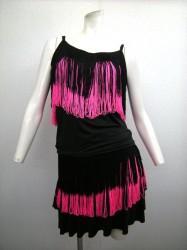 《さらに値下げ》【st760】ラテンスーツ フリンジキャミ・スカート ブラックピンク 4320円を↓
