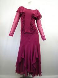 高品質【st916】社交ダンス上下スーツ シフォン素材切替(スカート裾ストーン) 濃いピンク