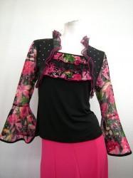 ★高品質★【t416】社交ダンストップス フリフリボレロ重ね着風 長袖 ピンク
