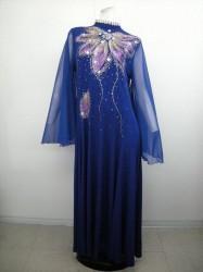 【k-70】カラオケステージ衣装 ハイネック ストレートロングドレス ブルー