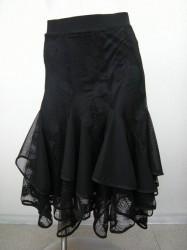 【ss638】社交ダンス ミディアムスカート 羽刺繍 ブラック