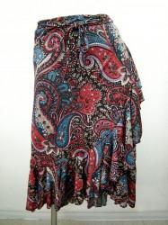 【ss639】巻きスカート ミディアム丈 ペイズリー ブラック×レッド