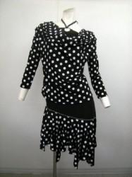 【st776】水玉柄スーツ ホルターネック×ラテンスカート ブラックホワイト