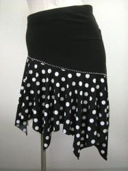 【ss645】水玉柄 ミニ ラテンスカート ブラックホワイト