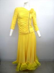 【st777】上下スーツ 3花モチーフトップス×裾石付きスカート イエロー