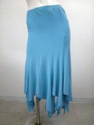 【ss668】ミディアムスカート 裾ギザギザ 10枚はぎ ターコイズブルー