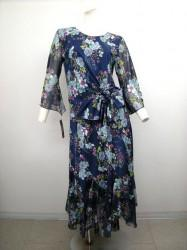 【st786】上下スーツ 花柄 ゆったりサイズ ウエスト絞りトップス ミディアムスカート