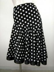 新柄♪【ss678】ミディアムスカート 裾テープ 水玉柄ブラック×ホワイト